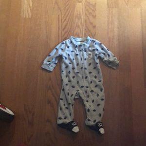 Carter's Boy Fleece Footie Zip Up Football print